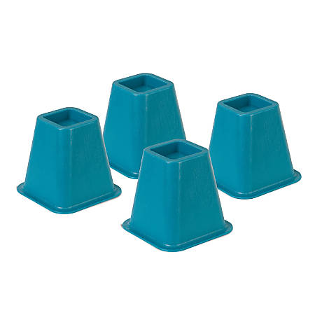 """Honey-Can-Do Plastic Bed Risers, 6""""H x 6 1/2""""W x 6 1/2""""D, Blue, Pack Of 4"""