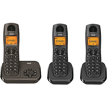 RCA 2162-3BKGA DECT 6.0 Cordless Phone - Black - 1 x Phone Line - 3 x Handset - Answering Machine