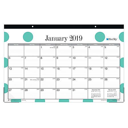 "Blue Sky™ Monthly Desk Pad Calendar, 17"" x 11"", Penelope, January to December 2019"