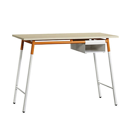 Sauder® Square1 Desk With Storage Box, Maple/Orange/White