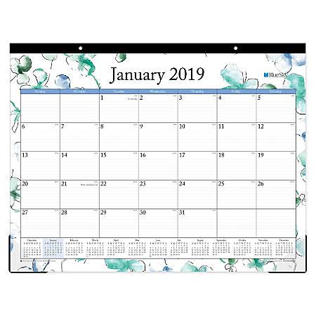 "Blue Sky™ Monthly Desk Pad Calendar, 22"" x 17"", Lindley, January to December 2019"