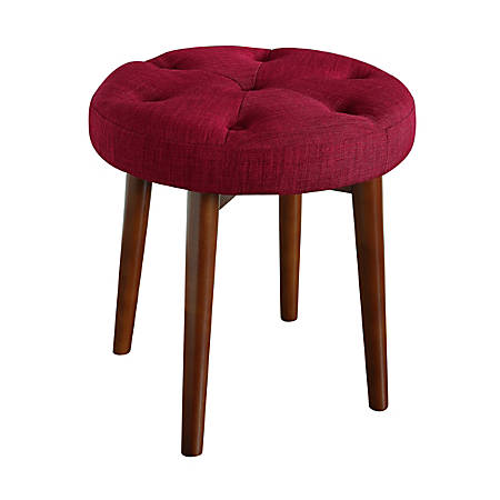 Elle Décor Penelope Round Tufted Stool, Red Sangria/Brown