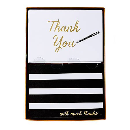 """Sincerely A Collection by C.R. Gibson® Double-Pack Note Cards With Envelopes, 4 7/8"""" x 3 1/2"""", B/W Stripe, Box Of 16"""