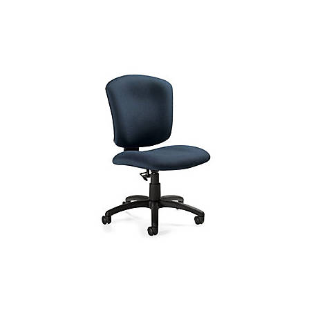 "Global® Supra X™ Mid-Back Armless Task Chair, 38""H x 20""W x 25""D, Black Frame, Navy Fabric"