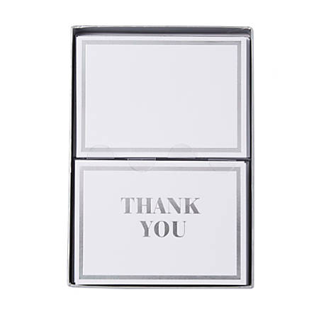 "Sincerely A Collection by C.R. Gibson® Double-Pack Note Cards With Envelopes, 4 7/8"" x 3 1/2"", White Thank You, Box Of 16"