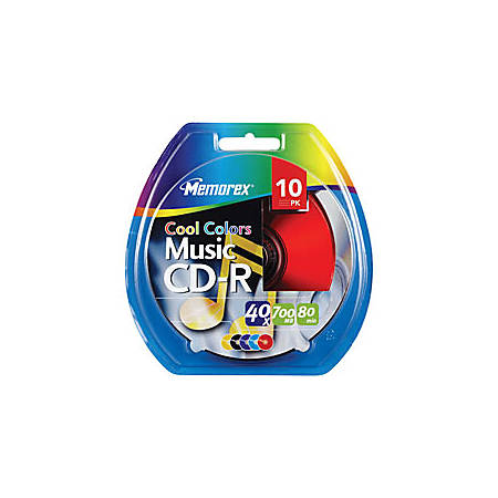 "Memorex® Music CD-R Recordable Media, ""Cool Colors"", 700MB/80 Minutes, Pack Of 10"