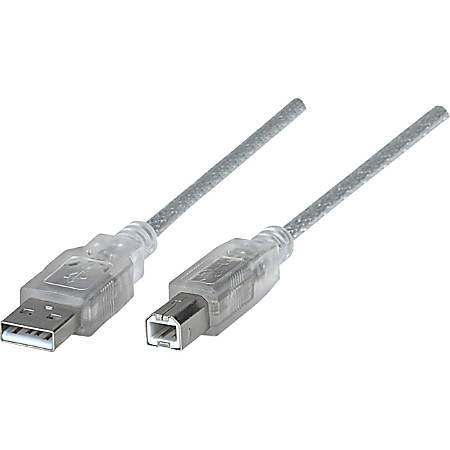 Manhattan Hi-Speed USB 2.0 A Male to B Male Device Cable, 10', Translucent Silver - Hi-Speed USB 2.0 for ultra-fast data transfer rates with zero data degradation
