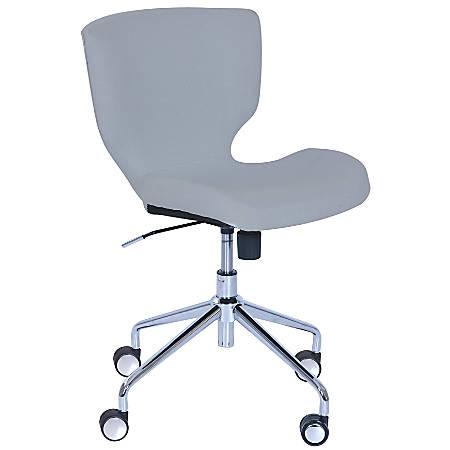 Elle Décor Madeline Hourglass Mid-Back Task Chair, Light Gray/Chrome
