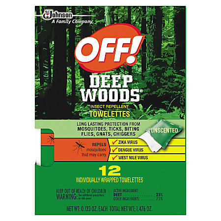 OFF! Deep Woods Towelettes, 0.12 Oz, Pack Of 12 Towelettes