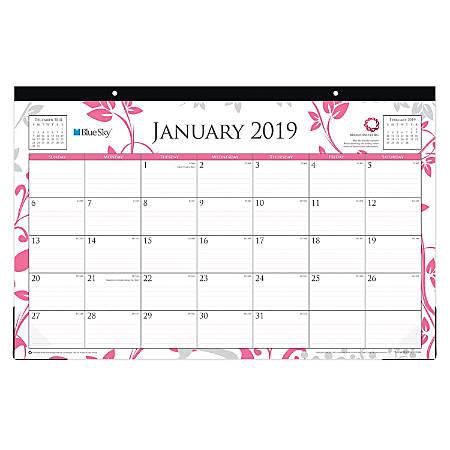 "Blue Sky™ Breast Cancer Awareness Monthly Desk Pad Calendar, 17"" x 11"", Alexandra, January to December 2019"