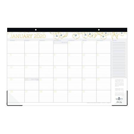 "Blue Sky™ Egg Press Monthly Desk Pad, 17"" x 11"", Blue Patternless Flower, January To December 2020, 116545"