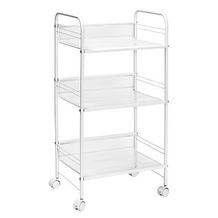 "Honey Can Do 3-Shelf Steel Wire Rolling Cart, 34-3/4""H x 18""W x 13""D, White"
