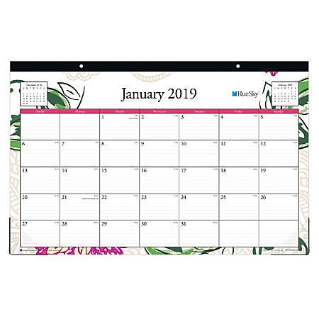 """Blue Sky™ Monthly Desk Pad Calendar, 17"""" x 11"""", Dahlia, January to December 2019"""