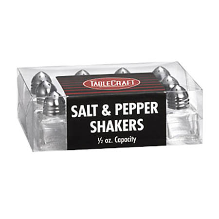 Tablecraft Cube Salt And Pepper Shakers, 0.5 Oz, Clear, Pack Of 12 Shakers