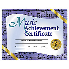 Hayes Music Achievement Certificates 8 12
