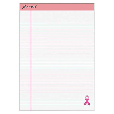 "Ampad® Esselte Breast Cancer Awareness Writing Pads, 8 1/2"" x 11 3/4"", Pink/White, 50 Sheets Per Pad, Pack Of 6 Pads"