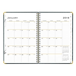 """Blue Sky™ Hardcover Planner, Weekly/Monthly, 5"""" x 8"""", Carrera, January to December 2019"""