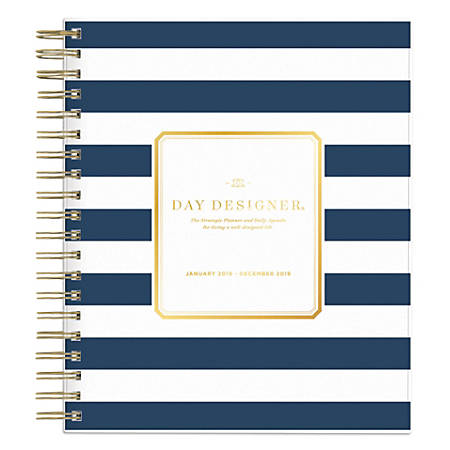 """Blue Sky™ Day Designer® Daily/Monthly Planner, 10"""" x 8"""", Navy Stripe, January to December 2019"""