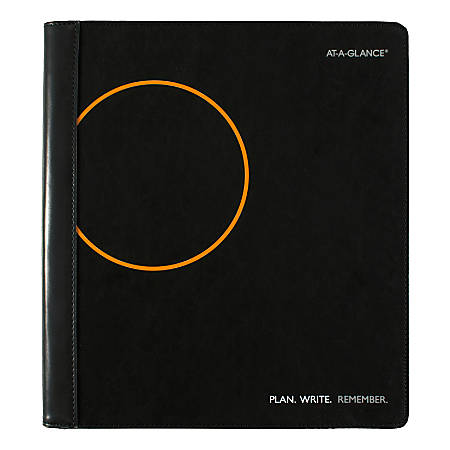 """AT-A-GLANCE® Plan. Write. Remember. 18-Month Monthly Planner, 9"""" x 11"""", Black, January 2019 To June 2020, 70620605"""