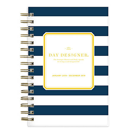 """Blue Sky™ Day Designer® Daily/Monthly Planner, 8"""" x 5"""", Navy Stripe, January to December 2019"""