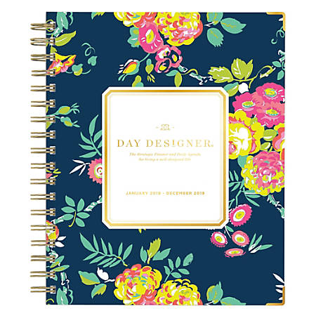 """Blue Sky™ Day Designer Hardcover Weekly/Monthly Planner, 9"""" x 7"""", Peyton Navy, January to December 2019"""