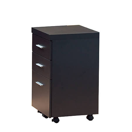 Monarch Specialties 3-Drawer Hollow-Core File Cabinet With Casters, Cappuccino