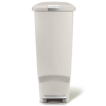 "simplehuman Slim Plastic Step Trash Can, 25 1/4""H x 10 1/4""W x 19 5/16""D, 10.57 Gallons, Stone"