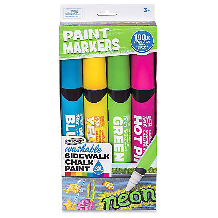 RoseArt Washable Sidewalk Chalk Paint Markers - Jumbo Marker Point - Blue, Hot Pink, Lime Green, Neon Yellow - 4 / Pack