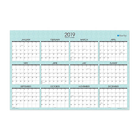 """Blue Sky™ Yearly Dry-Erase Wall Calendar, 36"""" x 24"""", Picadilly, January to December 2019"""