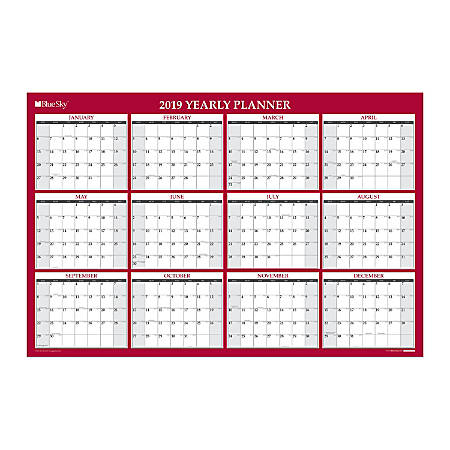 """Blue Sky™ Yearly Dry-Erase Wall Calendar, 48"""" x 32"""", Red, January to December 2019"""