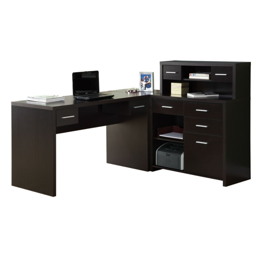 Monarch Specialties L Shaped Computer Desk 44 x 63 x 59 Cappuccino