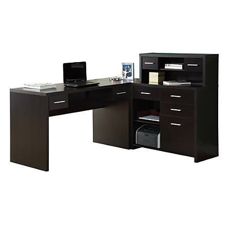 Monarch Specialties L-Shaped Computer Desk With Hutch, Cappuccino