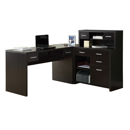 Monarch Specialties L Shaped Computer Desk With Hutch Cappuccino By Office Depot Officemax