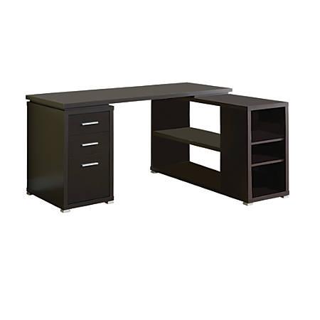 Monarch Specialties L-Shaped Computer Desk With Book Shelf, Cappuccino