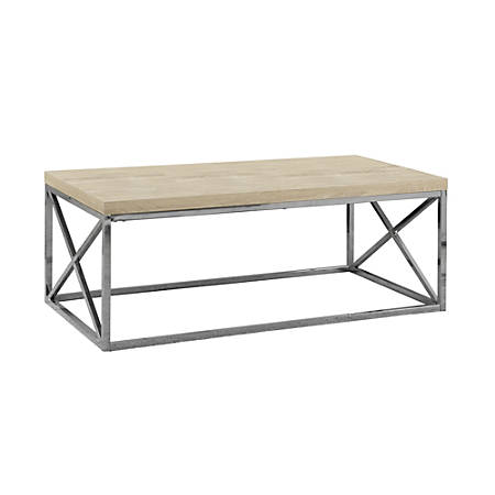 "Monarch Specialties Nathan Coffee Table, 17""H x 44""W x 22""D, Beech"