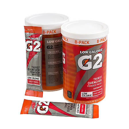 Gatorade G2 Fruit Punch Low-Calorie Powder Packs, Canister Of 8 Packs, Case Of 8 Canisters