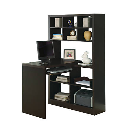 Monarch Specialties Corner Computer Desk With Built-In Shelves, Cappuccino