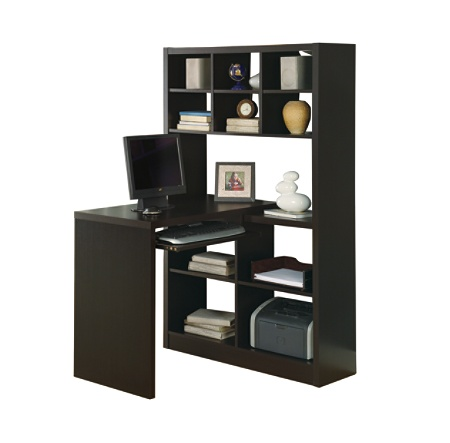Monarch Specialties Corner Computer Desk With Built In Shelves Cappuccino By Office Depot Officemax