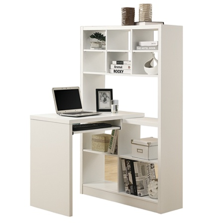 Monarch Specialties Corner Computer Desk With Built In Shelves White By Office Depot Officemax
