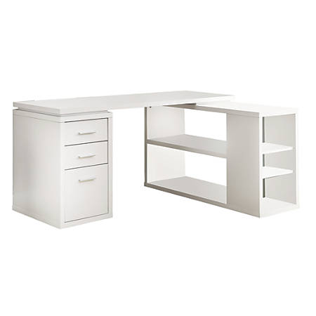 separation shoes eb27b d9666 Monarch Specialties L-Shaped Computer Desk With Book Shelf, White Item #  981007