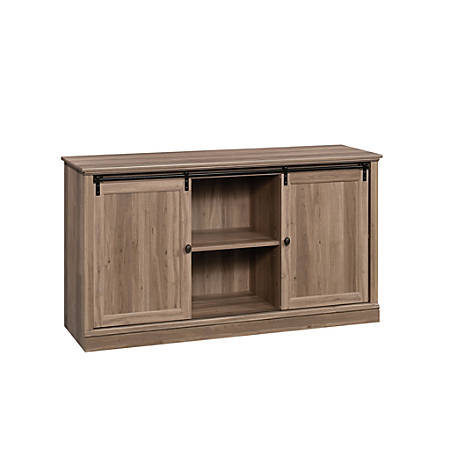 "Sauder® Barrister Lane Credenza With Sliding Doors For 60"" TVs, 33-5/8""H x 61-1/4""W x 19-1/8""D, Salt Oak"