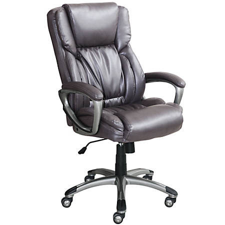 Serta Works Bonded Leather High-Back Office Chair, Harvard Gray/Silver