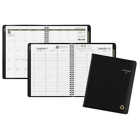 """AT-A-GLANCE® Weekly/Monthly Appointment Book/Planner, 6 7/8"""" x 8 3/4"""", 50% Recycled, Black, January to December 2019"""