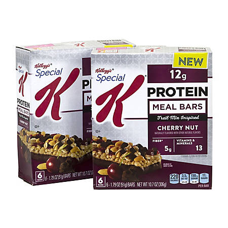 SPECIAL K Protein Meal Bars Cherry Nut Chocolate, 1.79 oz, 6 Count, 2 Pack