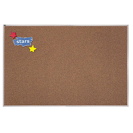 "Quartet® Premium Education Color Cork Bulletin Board With Frame, 48"" x 48"", Brown/Aluminum Frame"