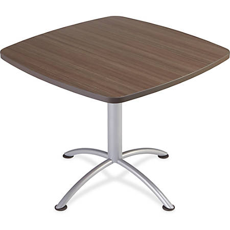 """Iceberg iLand 29""""H Square Hospitality Table - Square Top - Powder Coated Silver Base - 36"""" Table Top Length x 36"""" Table Top Width x 1.13"""" Table Top Thickness - 29"""" Height - Assembly Required - Laminated, Teak - Particleboard"""