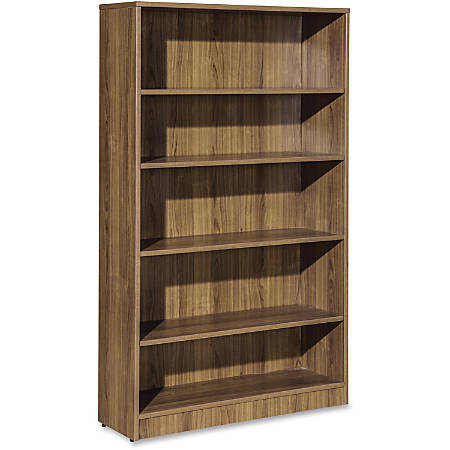 "Lorell Essentials Series Walnut Laminate Bookcase - 36"" x 12"" x 60""Bookshelf, 0.8"" Shelf - 5 Shelve(s) - Square Edge - Material: Medium Density Fiberboard (MDF) - Finish: Walnut, Laminate"