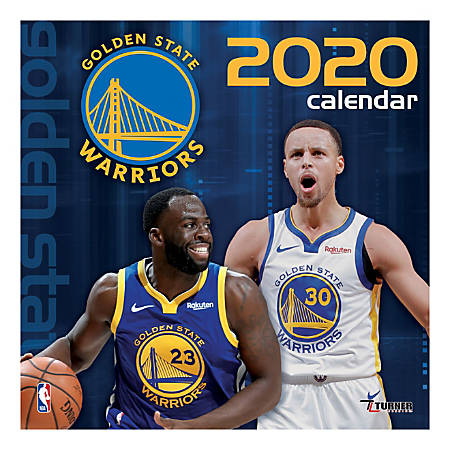 """Turner Licensing Monthly Wall Calendar, 12"""" x 12"""", Golden State Warriors, 2020"""