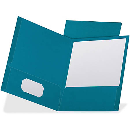 "TOPS Oxford Linen Cover Twin-pocket Folders - Letter - 8 1/2"" x 10 63/64"" Sheet Size - 100 Sheet Capacity - 2 Pocket(s) - Linen - Teal - Recycled - 25 / Box"