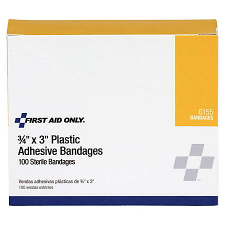 """First Aid Only™ Plastic Adhesive Bandages, 3/4"""" x 3"""", Tan, Pack Of 100"""